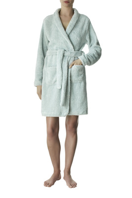 Ash grey color soft touch fleece dressing gown Amalia