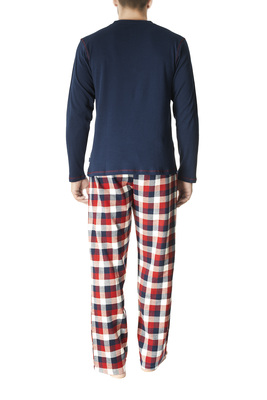 Blue and green tartan pattern cotton interlock and flannel long sleeves pyjamas Leonard