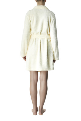 Cream color soft touch fleece dressing gown Amalia