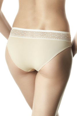 Nude color and ivory microfibre and lace briefs Merengue