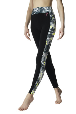 Leggings Active Up nero e giallo fluo bande fantasia splash