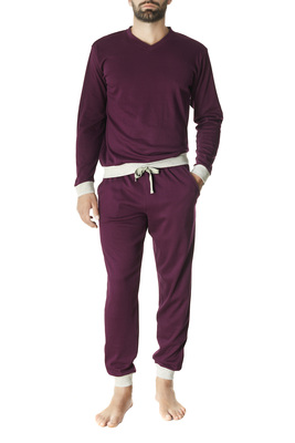 Plum and melange grey cotton interlock long sleeves pyjamas Julien