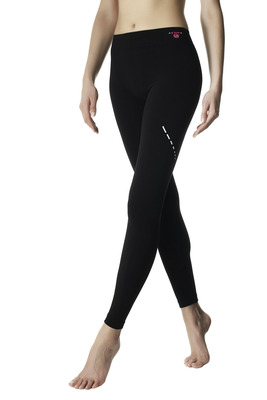 Leggings Active Up nero con interno vita ciclamino