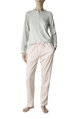 Pink and grey stripes pattern viscose and cotton interlock long sleeves pyjamas Anja