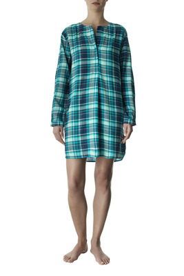 Peacock green tartan pattern with lamé cotton maxi shirt Estelle