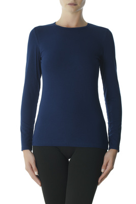 Blue round-neck long-sleeves cotton top Gwen