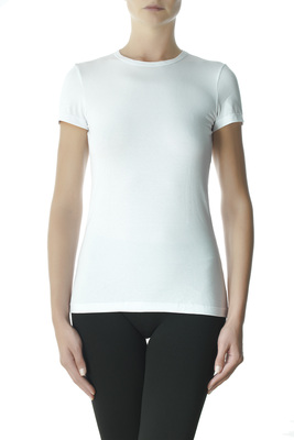 White round-neck short sleeves cotton T-shirt