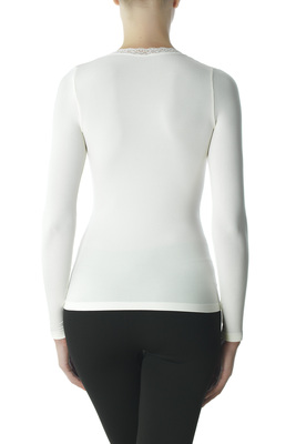 Ivory long-sleeves microfibre top Eligere