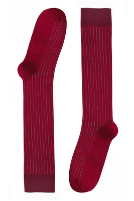Red stripes pattern long ribbed cotton socks Morgan