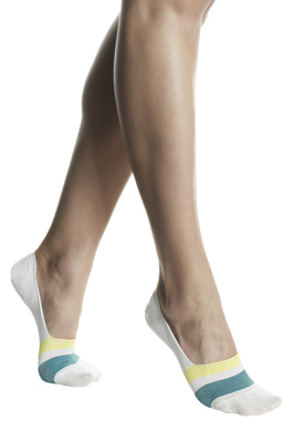 White cotton shoe liner Marlena with yellow and light blue glitter stripes and non-slip silicone pad