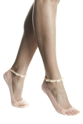 Pink lace patterned fashion shoe liner Chic with pearls and non-slip silicone pad