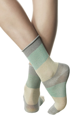 Glitter stripes pattern grey fashion socks Cosima