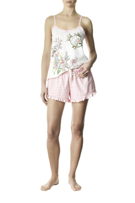 Vichy and marine patterned pink and white cotton short pyjamas Eulalia