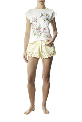 Marine patterned  white and yellow  short pyjamas Prisca with sangallo lace