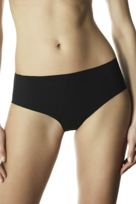 Black laser-cut microfibre panties Clean cut