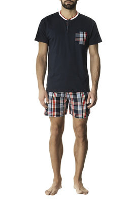 Madras patterned blue cotton short pyjamas Lodovico