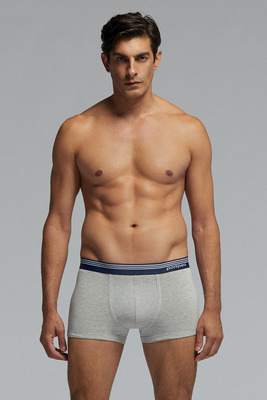 Melange grey cotton boxer shorts Player with blue waistband