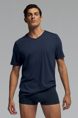 Men's blue V neck short sleeves cotton T-shirt