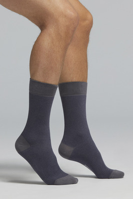 Blue bicolour piquet pattern short cotton socks Andrea